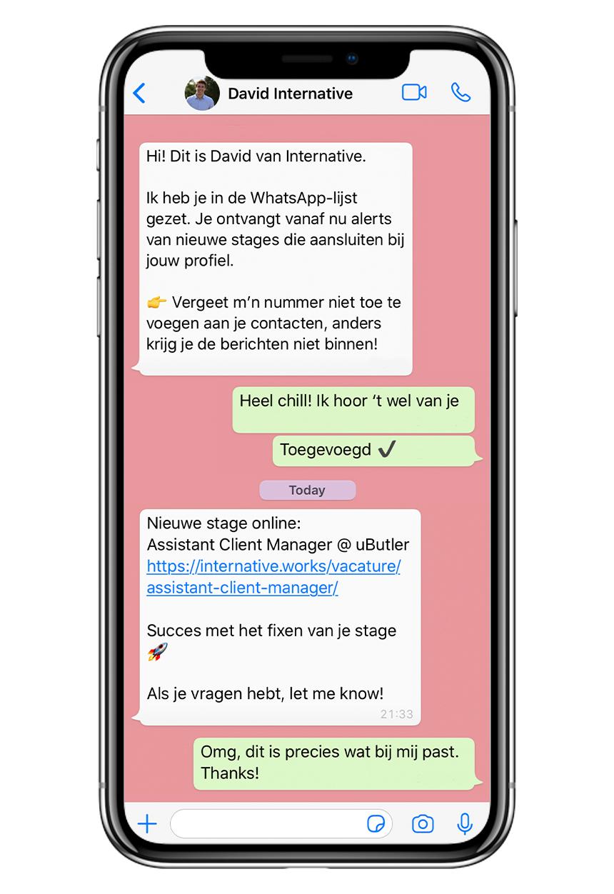 iPhone met WhatsApp Lijst Voorbeeld